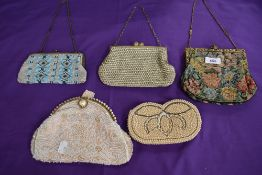 A collection of vintage evening bags with beading, sequin,tapestry and rhinestone detailss,mainly