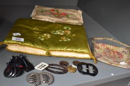 Two hand painted hosiery cases an evening bag and a nice little lot of buckles and buttons.