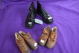 Three pairs of antique and vintage childrens shoes and boots.boots unused and still having