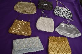A selection of vintage evening bags with beading and sequin details, a mixed lot perfect for