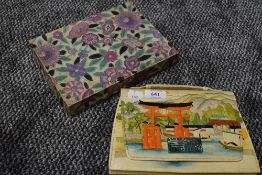 A vintage hand painted Chinese handbag,with harbour scene to front and volcano and seascape to