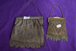 Two vintage chain bags, one larger having scalloped edge to bottom the other smaller of gold an
