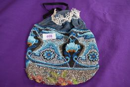 An extensively beaded drawstring evening bag having a variety of colourful patterns interwoven