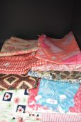 A selection of vintage fabrics, good quantities of each and in various colours, predominantly 60s.