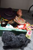 A box of mixed vintage and retro items and accessories including poodle pyjama cases, needlepoint
