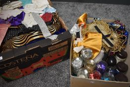 A mixed lot of fabrics and accessories including sequins and beading, perfect for any sewing