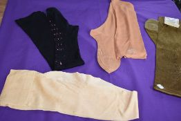 Four pairs of antique stockings including gold coloured Flew Eagle brand,and a wonder black lisle