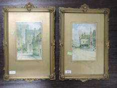 A pair of prints, after F Robson, The City Cross and The Old Winchester, 22 x 15cm, plus frame and