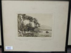 An etching, after Geo H Downing, Derwentwater, signed, 11 x 16cm, plus frame and glazed