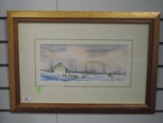 A watercolour, Andrew Grahame Storrie, Mist over Pan-y-Ghent, 16 x 37cm, plus frame and glazed,