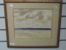 A watercolour, W Dodd, Baltic estuary scene, signed- twice, and dated 1945, 23 x 29cm, plus frame