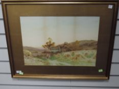 A watercolour, Haselgrave, rustic farmstead returning home, signed, 34 x 49cm, plus frame and