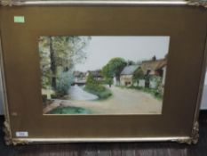 A watercolour, L Rigby, village scene, signed and dated 1914, 26 x 35cm, plus frame and glazed