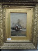 An oil painting, lake house, C19th, 22 x 14cm, plus frame