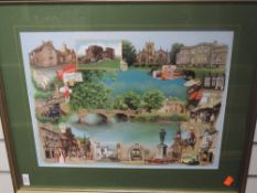 A Ltd Ed print, Kendal Market, signed and numbered 24 x 20cm, and Kendal, 35 x 46cm, plus frame