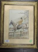 A watercolour, hunting interest, 23 x 16cm, plus frame and glazed