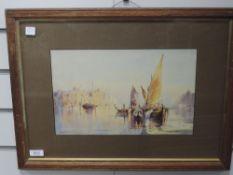 A watercolour, H Hughes Richardson, Venice, signed, 21 x 34cm, plus frame and glazed