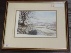 A Ltd Ed print, after K Melling, winter landscape, signed and num 19/850, 22 x 32cm, plus frame