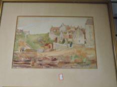 A watercolour, T B Adam, harbour scene, signed, 26 x 37cm, and a watercolour, E Leighton, Ireby
