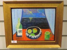 An oil painting on board, Feddon, still life, indistinctly signed, 20 x 26cm, plus frame