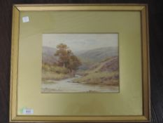 A watercolour, Alfred Powell, Welsh landscape, signed, 20 x 27cm, plus frame and glazed
