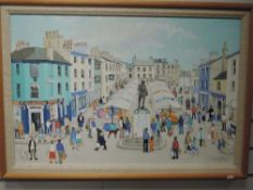 An oil painting, Janet Gatley, Kendal market, signed and dated 1988, 50 x 75