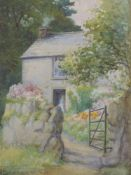 A watercolour, Brocklebank, cottage and garden, signed and dated 1944, 34 x 24cm, plus frame and
