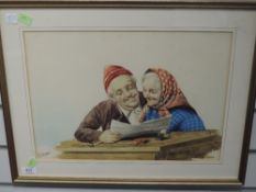 A watercolour, Gianni, elderley couple, signed, 29 x 42cm, plus frame and glazed