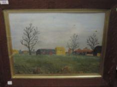 An oil painting, farmstead, 33 x 44cm, plus frame and glazed