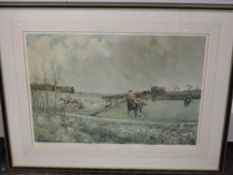 A print, after Lionel Edwards, hunting interest, 1962, 33 x 43cm, plus frame and glazed, and three