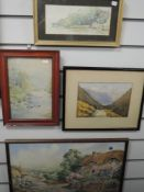 A watercolour, S W, Flushing, Cornwall, initialled, 10 x 23cm, plus frame and glazed, a watercolour,