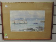 A watercolour, Watson, harbour scene, indistinctly signed, 22 x 35cm, plus frame and glazed