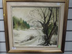 An oil painting on board, attributed to Judith da Fano (Manby), village winter scene, 34 x 38cm,