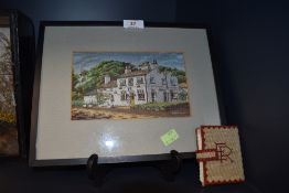 A woven silk dated 1967 of Macclesfield interest, framed and glazed also included is a cross