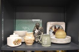 An assortment of ceramics including plates,vase,bowls and more.