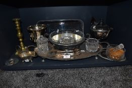 A mixed lot of plated ware, glass and similar including trays, pestle and mortar and more.