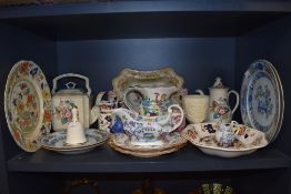 A variety of Masons ware including plates, bell,jugs and more, mixed designs and styles.