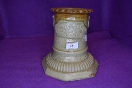 A 1901 dated salt glazed grave vase/urn or similar.W.G Bathgate Sedburgh.