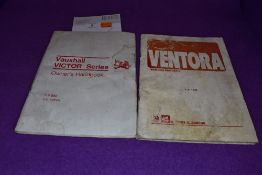 A Vauxhall Ventora 2 handbook issued 1971 and another for Vauxhall Victor issued 1967.