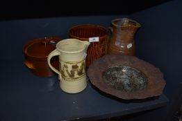 A selection of studio pottery and similar including unusual bowl.