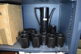 A vintage Portmeirion coffee set in matte black finish.