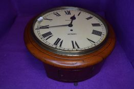 A mahogany cased Fusee wall clock, having hinged glass to front and roman numerals and 'Rhodes