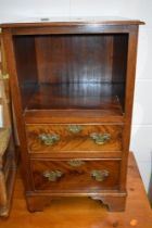 A reproductoion mahogany bedside drawer set, open shelf over drawer base, Georgian style, width