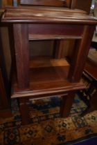 A pair of Indonesian or similar hardwood square occasional/coffee tables, width approx. 59cm