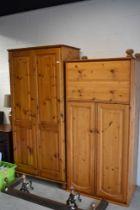 Two modern pine wardrobes