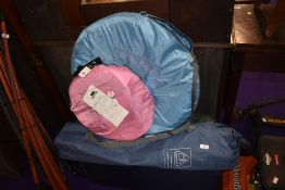 A selection of camping chairs, pop up tent, travel cot