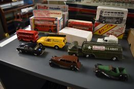 A selection of mixed vintage Dinky and Corgi diecasts including two Dinky Meccano Salon and Sports