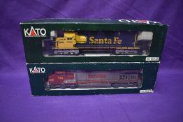 Two Kato HO scale Locomotives Santa Fe 5018 boxed 37-012 & BNSF 726 boxed 37-1204
