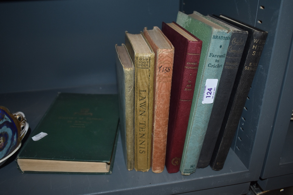 A selection of vintage books of cricket and lawn tennis interest including 'History of cricket in