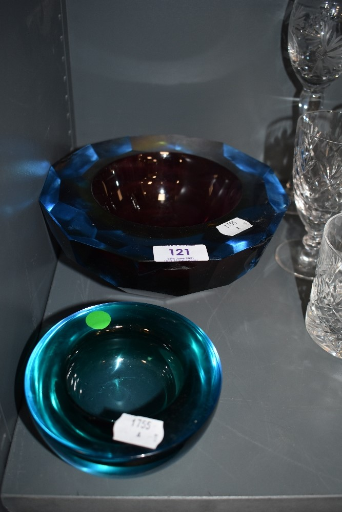 Two large and heavy pieces of colourful art glass.